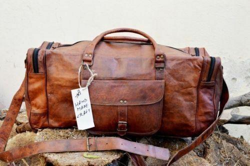 "Travel Luggage Duffle Gym Bag 28/"" Men/'s Brown Vintage Genuine Leather Goat hide"