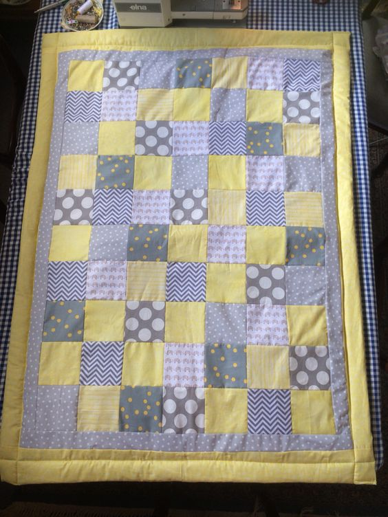 Grey, yellow, white and elephant baby nursery quilt