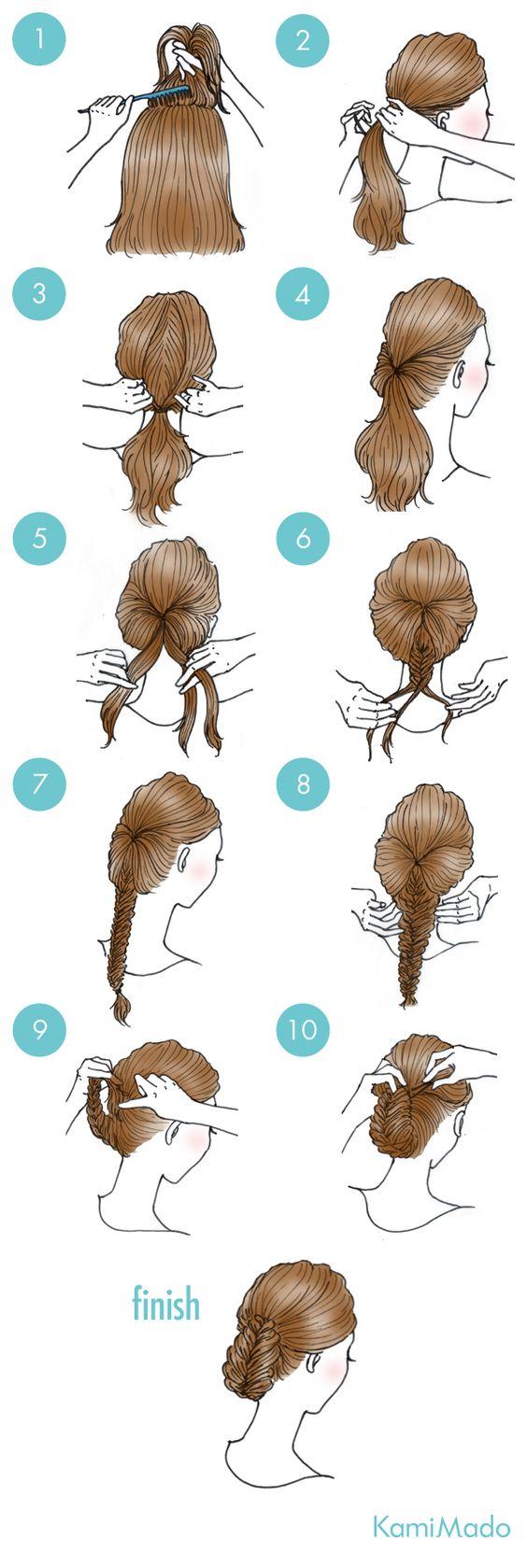 Tutorial de penteado com rabo de cavalo invertido e trança embutida.: