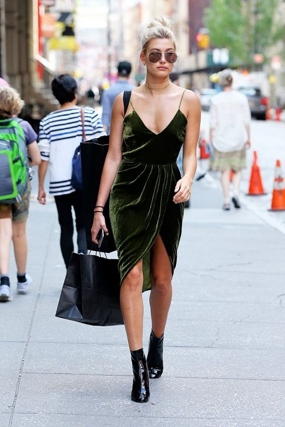 On Hailey Baldwin: Vatanika Velvet Dress; Dior boots.: