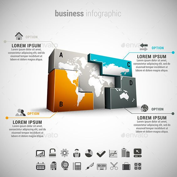 Business infographic infographic templates business and infographic vector illustration of business infographic made of world map and blocks 22 icons inside file zip includes free fon sciox Choice Image
