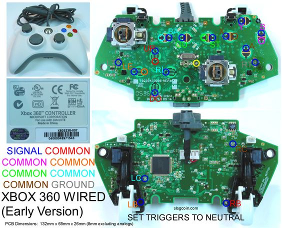 Gaming Gadgets And Mods Xbox 360 And Original Xbox Controller Pcb Diagrams For Mods Or Making Your Own Joystick Xbox Controller Xbox Xbox 360