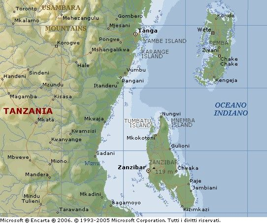 Zanzibar is too small to show up on most maps so here it is