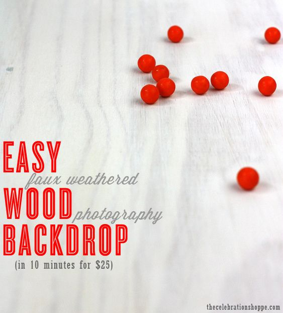 Easy DIY White Weathered Wood Photo Backdrop - make it in 10 minutes for $25 | tutorial with thecelebrationshoppe.com #photography #fauxwood #weathered