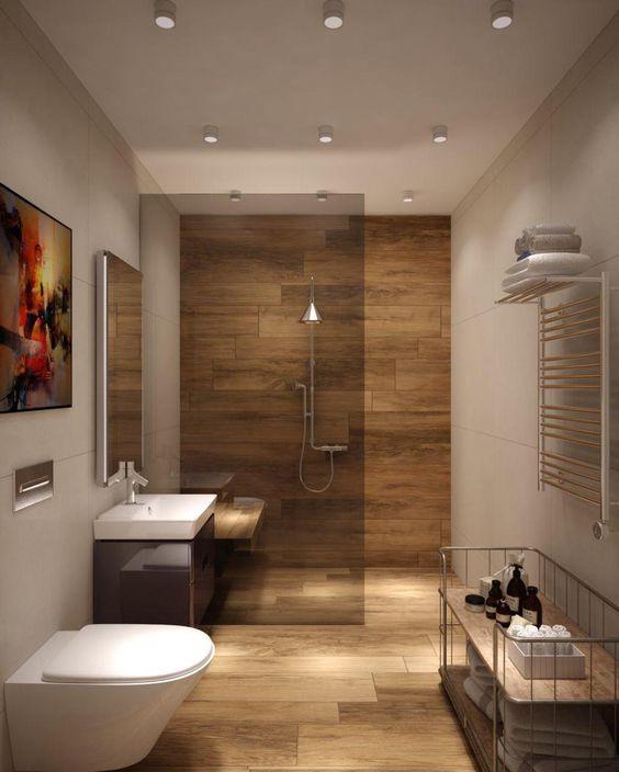 banheiros com revestimentos de madeiras porcelanato