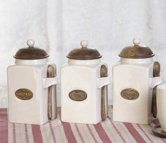 Old Cream Canisters With Flour And Sugar On Jars Coaster Set. Annabel Kitchen  Canister Set