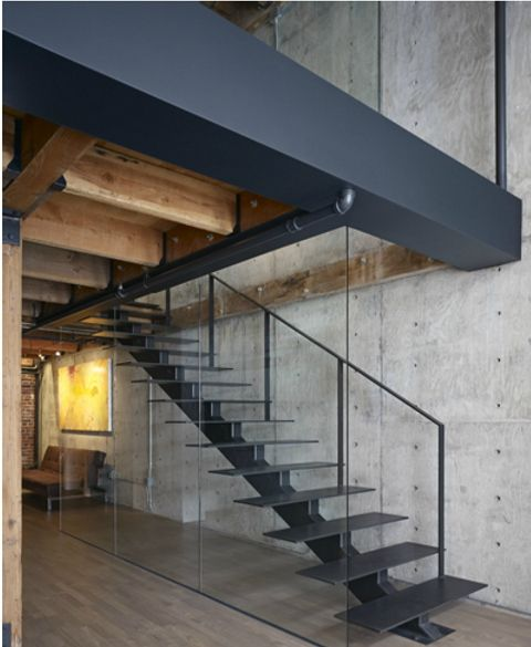 warehouse 5 apartment loft conversion metal staircase Edmonds Lee Architects