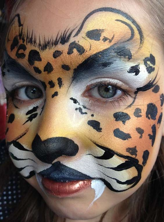 leopard face paint face painting pinterest cheetahs search and kid. Black Bedroom Furniture Sets. Home Design Ideas