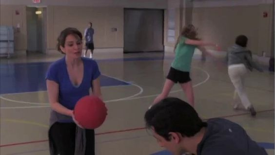 "Liz Lemon at Singles Dodgeball... deep thoughts while under fire.  ""I  want someone who will be monogamous and nice to his mother. And I want someone who likes musicals, but knows to just shut his mouth when I'm watching ""Lost."" ... ... ... ... ... ... And that's what I want."" - Liz Lemon, 30 Rock"