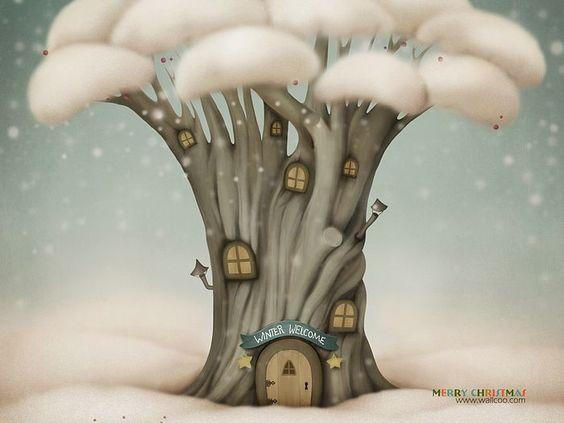Christmas illustration : Winter Tree House Wallpaper (1920+1600 ) 8 - Wallcoo.net