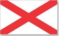 """Alabama state flag  -  """"A crimson cross of St. Andrew on a field of white"""" is the official description of Alabama's state flag (patterned after the Confederate battle flag).  The Alabama legislation does not specify whether the flag should be square or rectangular (only that the bars be at least 6 inches broad), and it is seen both ways."""