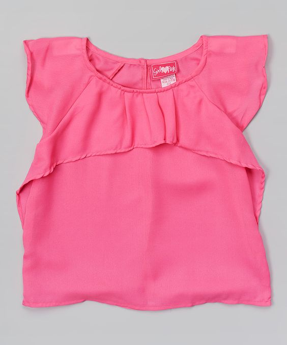 Love this Fuchsia Ruffle Angel-Sleeve Top by Girls Luv Pink on #zulily! #zulilyfinds