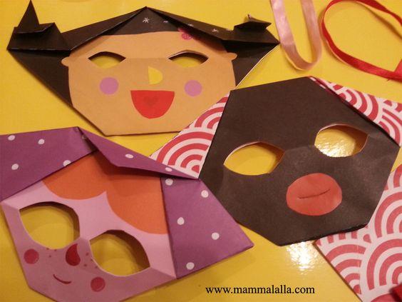 maschere con l'origami www.mammalalla.com