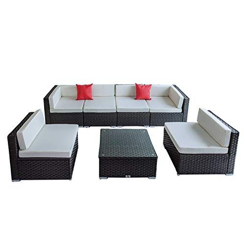 See Welpatio 7 Pcs Outdoor Pe Rattan Wicker Furniture Sectiona