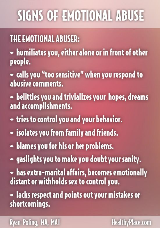 Signs of an abusive relationship emotionally