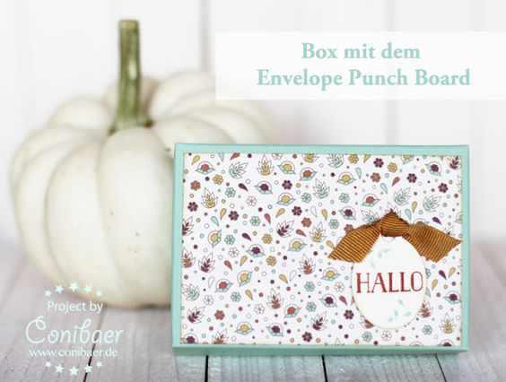 www.conibaer.de Einfache, herbstliche Geschenkbox für drei Merci Schokoriegel mit dem Stanz- & Falzbrett für Umschläge / easy handmade gift box for three merci chocolate bars using the envelope punch board #herbst #fall #autumn