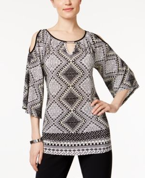 Ny Collection Petite Printed Cold-Shoulder Top - Black P/XL