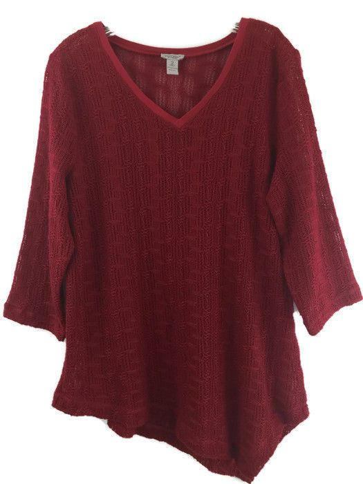 Chicos 2 Sweater Red Loose Knit Asymmetrical Hem 3/4 Sleeve Pullover 12 14 M/L #Chicos #Tunic