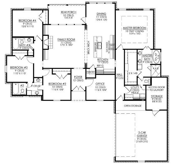 House Plan 4534 00003 Southern Plan 2 254 Square Feet 4 Bedrooms 3 Bathrooms In 2021 4 Bedroom House Plans Acadian House Plans Country House Plans