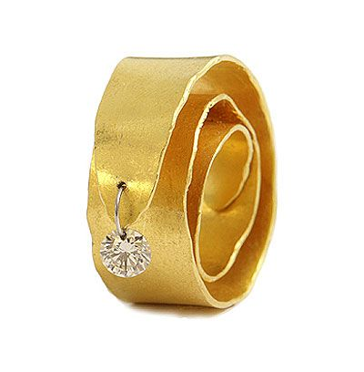Yael Herman  Ring: Wavelet 2007  24k gold ring with perforated diamond on S.Steel wire