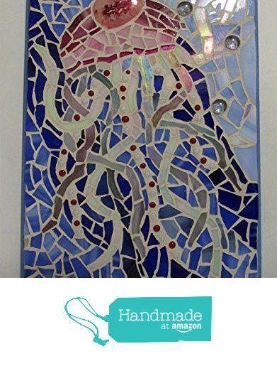 "nautical jellyfish stained glass mosaic wall hanging ""Jellyfish Love Bubbles"" 9"" x 12"" from PrancyBearStudio http://www.amazon.com/dp/B017JHOITA/ref=hnd_sw_r_pi_dp_g4Howb1RTEA73 #handmadeatamazon"