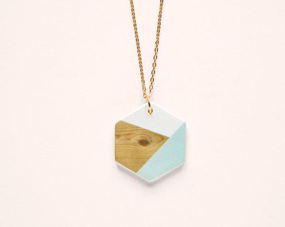 Hexagon N5 Geometric Ceramic necklace by depeapa