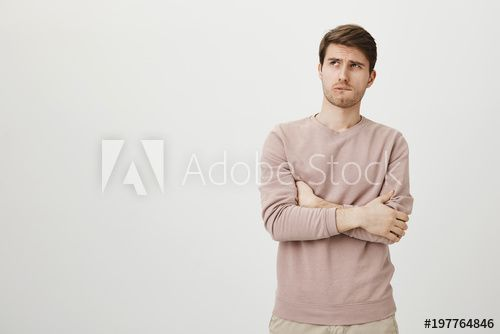 Reading Weird And Shocking Message Portrait Of Clueless Confused Handsome Guy With Bristle In Blue Shirt Raising Palm And Handsome Men Blue Shirt Stock Photos