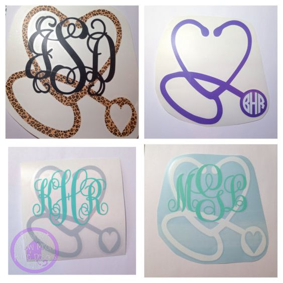 monogram stethoscope decal great gift for by meowmeowhousedesigns