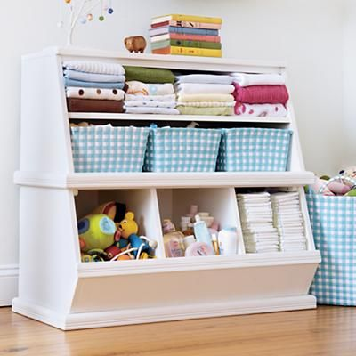 Kids' Storage Bins: Kids White Storage Unit