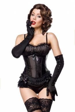 Satijnen burlesque korset zwart