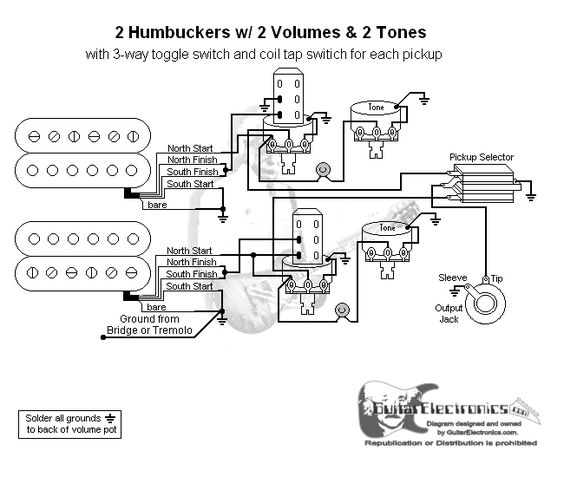 guitar wiring diagram 2 humbuckers 3 way toggle switch 2 volumes 2 tones individual coil taps. Black Bedroom Furniture Sets. Home Design Ideas