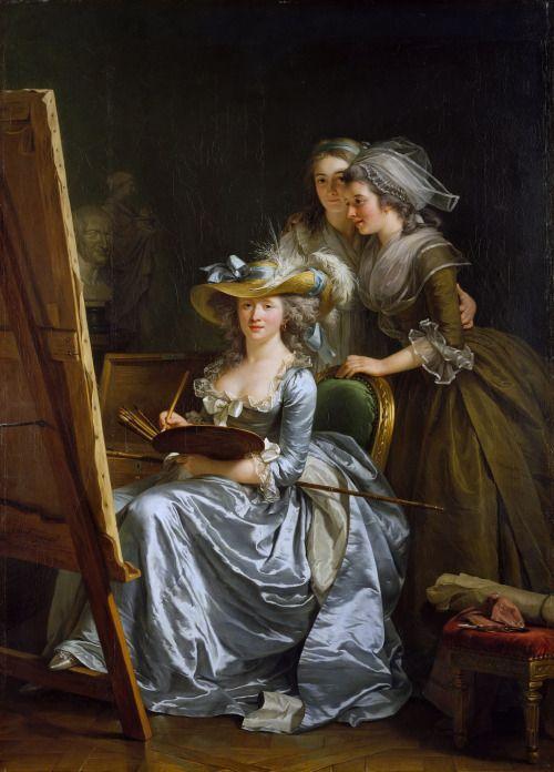 Autoportrait avec deux élèves, Marie-Gabrielle Capet et Marie-Marguerite Carreaux de Rosemond, Adélaïde Labille-Guiard, 1785.