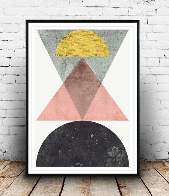 Geometric print, Abstract art, Scandinavian design, Patel colors art, Minimalist design, Modernist art, Watercolor abstract, Triangles art