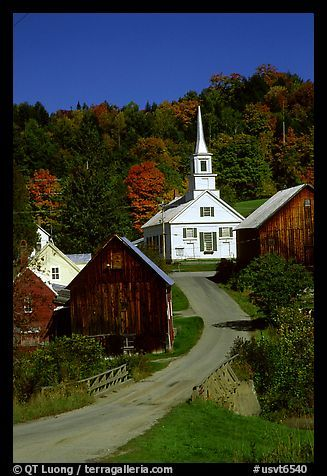 """I want to wind along this road, have my eyes mist over, at the beauty, the serenity that is """"Church in Waits River, Vermont."""""""