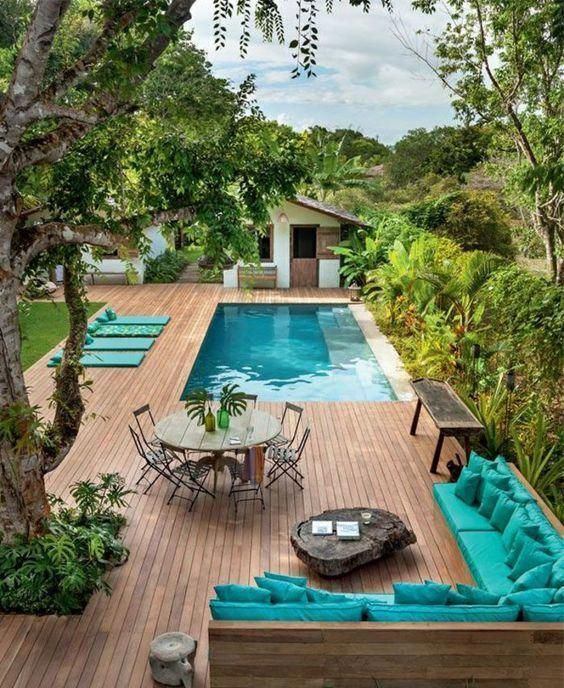 Modern Above Ground Pool Decks Ideas Wooden Deck Round Pool Lawn Stone Slabs Deck Pool Poollandscaping Small Pool Design Backyard Small Backyard Landscaping