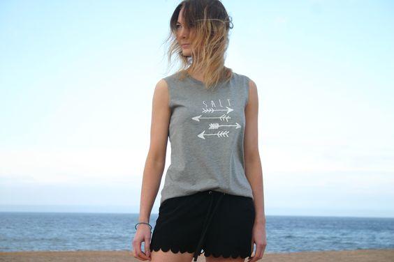 Salt Clothing Co. >> Arrow Vest >> black scallop edge shorts >> laid back surf style
