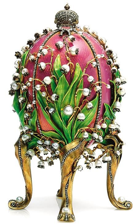 Faberge created this egg for Tsarina as an Easter gift in 1878.  It is made from gold, ormolu (gilded bronze), vermeil (gilded silver), enamels, pearls and small diamonds.