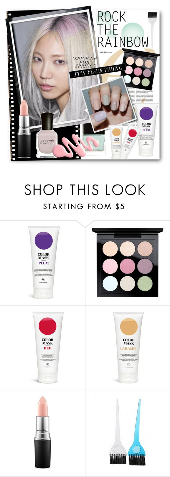 """""""#Rainbow Hair - Spice Up For Spring"""" by nikkisg ❤ liked on Polyvore featuring beauty, Chanel, MAC Cosmetics and rainbowhair"""