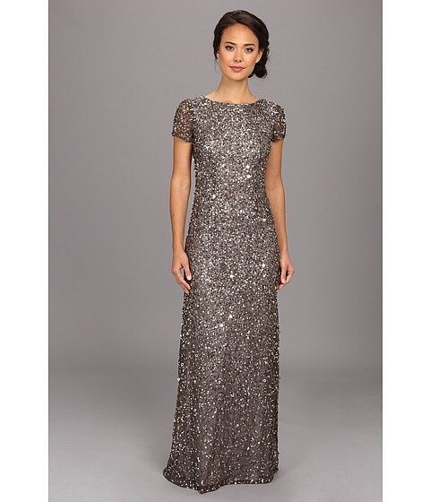 Sz 8 $278 Adrianna Papell Scoop Back Short Sleeve Sequin Mesh Gown ...