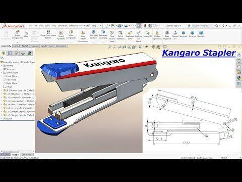 Solidworks Tutorial Design Of Kangaro Stapler Youtube Solidworks Tutorial Solidworks Tutorial