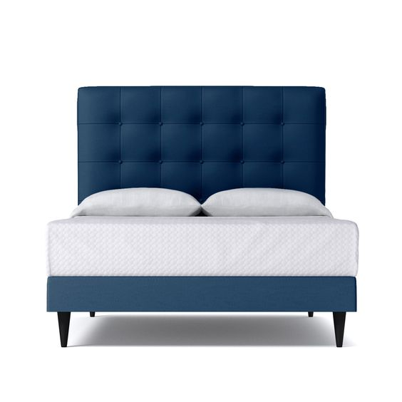 Part of the Kyle Schuneman for Apt2B Collection, the Palmer Drive Upholstered Bed is the little brother to the Palmer Upholstered Bed. It features a shorter but