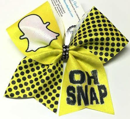Bows by April - OH SNAP Snapchat Yellow Glitter Cheer Bow, $15.00 (http://www.bowsbyapril.com/oh-snap-snapchat-yellow-glitter-cheer-bow/)