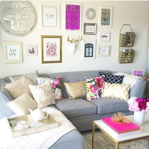 JUST GORGEOUS WITH THE PRETTY POPS OF PINK!! - SO BEAUTIFULLY DECORATED & QUITE ECLECTIC, WHICH I ABSOLUTELY LOVE!! - I ALSO LOVE THE ART WALL WHICH ALSO CARRIES THE PINK THROUGH!! #️⃣