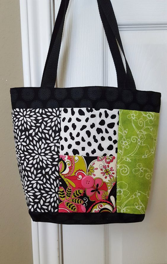 Funky Black Green Cow Print Purse Tote by KrazieDazieDesigns