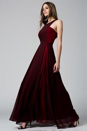 Kırmızı Bordo Elbise