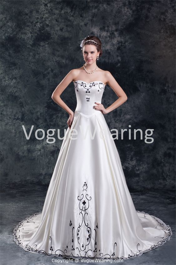 Amazing Spring/ Fall Court Train Satin Corset-back Wedding Dresses -Wedding Dresses