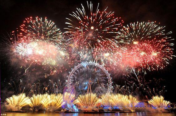 NYE 2012/2013 The London Eye is dwarfed by the impressive fireworks