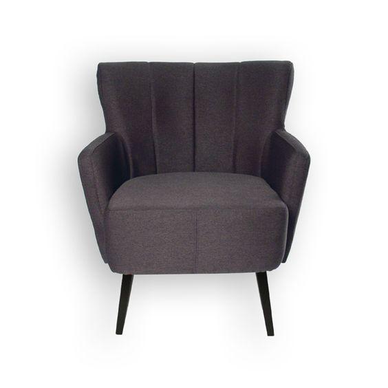 http://www.mueblesbonitos.com/taburetes-y-sillas/sillones-vintage.html  Sillón de estilo retro modelo Basilea en color gris oscuro. Precio: 199€ #vintage #retro #sillon #butaca #decoracion