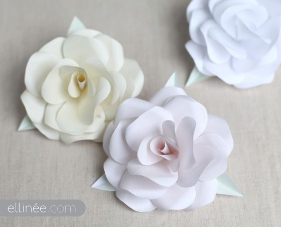 DIY Paper Rose - templates and directions....materials are stunningly simple....copy paper, scissors, hot glue gun, bamboo skewer