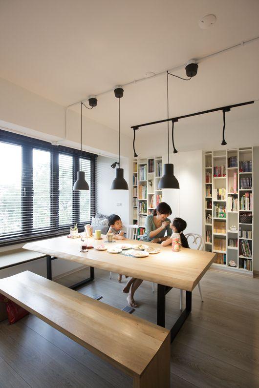 新增吊燈 投射燈均走明線 搭配軌道方便挪移燈源 House Styles Home Decor Home